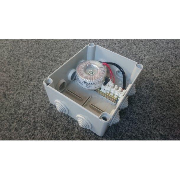 100 VA tranfo indbygget i kasse 3x24Vac